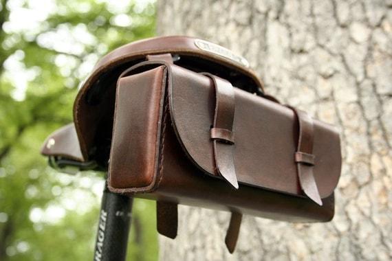 Bicycle Tool Bag : Leather bike tool bag dark brown