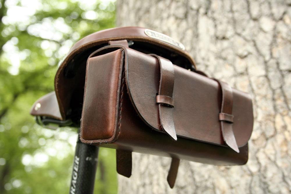 Leather Bike Tool Bag Dark Brown