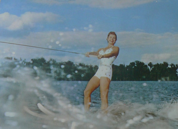 Vintage Esther Williams America's Mermaid Water Skis Large Postcard