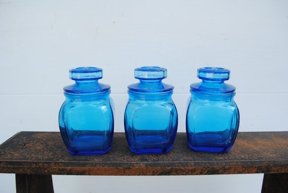 Vintage Blue Glass Jars with Lids