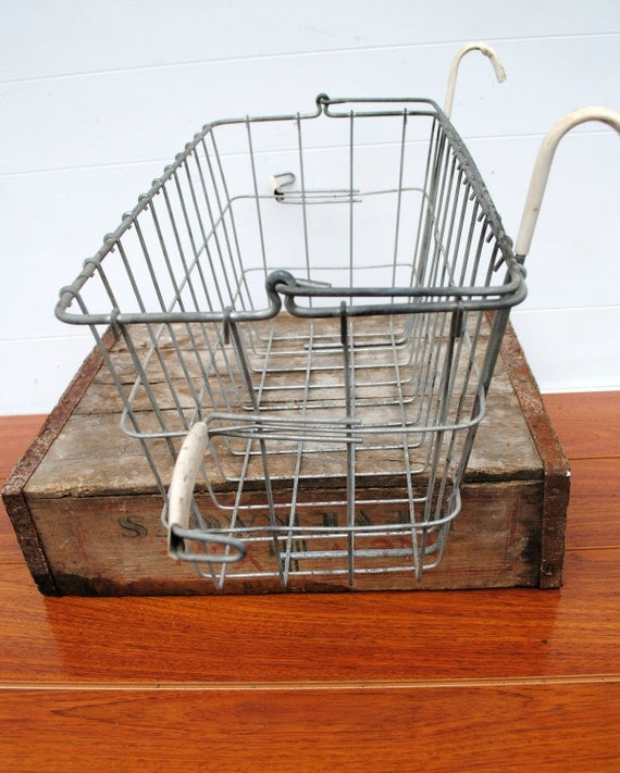 vintage wire basket with handle and hooks for hanging. Black Bedroom Furniture Sets. Home Design Ideas