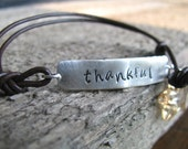 Wrap Bracelet Leather and Silver Personalized Hand Stamped- New Years Resolution- Words of Inspiration