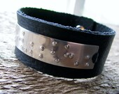 Braille Mens Leather and Silver Cuff- Say It With Braille Secret Message
