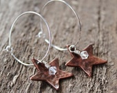 Silver Hoop Earrings With Hammered Copper Stars And Swarovski Sparkle- Everyday Rustic, Country Wedding