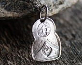 Matryoshka Russian Nesting Doll Initial Necklace In Recycled Precious Silver, Rustic, Vintage, Everyday Jewelery