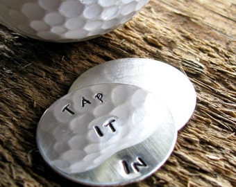Personalized Golf Ball Markers, Golf Ball Marker, Sterling Silver Marker Set, Hand Stamped, Men's Gift, - Tap It In Or Other Custom Message