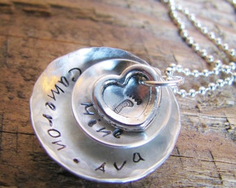 Personalized Name Necklace Hand Stamped- Sweet Heart Layers for Mommy, Grandma, Sister...