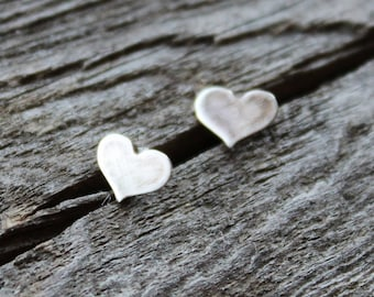 Tiny Heart Stud Earrings, Sterling Silver Studs, Rustic Everyday Post Earrings- For Women or Girls