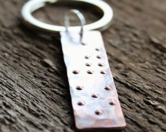 Personalized Braille Secret Message Keychain, Rustic Copper, Unisex Gift