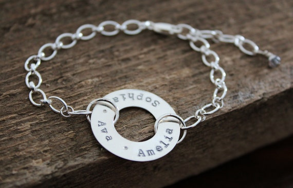 Sterling Silver Family Bracelet, Personalized Spinning Washer, Custom Names Bracelet, Hand Stamped Premium Sterling Silver, Gift For Mom