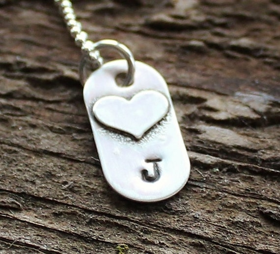 Personalized Love Initial Dog Tag Necklace Hand Stamped- Sweet Love Tag