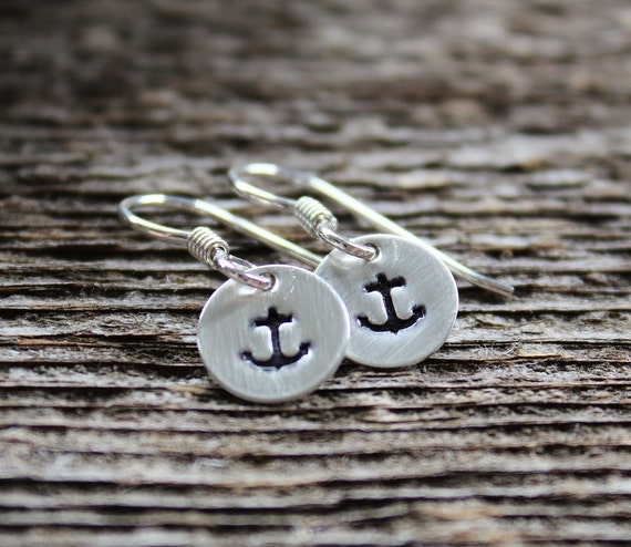 Tiny Nautical Anchor Earrings, Sterling Silver Hand Stamped Dangles Anchor Or Design Of Choice - Design Your Own Dangles