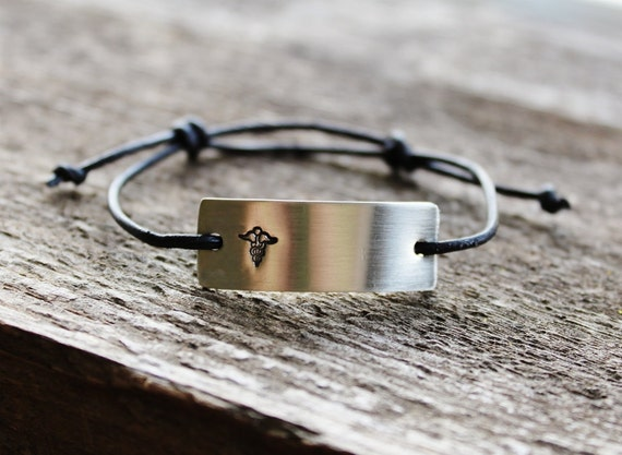 Personalized Childrens Medical Alert Bracelet Adjustable Leather, Unisex, Add Childs Name and Conditions