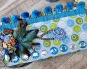 Wild West Journal - Cowgirl Western Rodeo Blue Green Turquoise Notebook Diary with Horse Chuckwagon Cross Crystals Feather Collage & Trim
