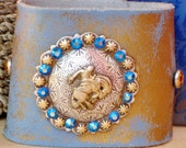 Ride Cowgirl Ride - Western Southwestern Rodeo Rocker Silver Gold Blue Crystal Cowboy Horse Concho Rhinestone Wide Leather Cuff Bracelet
