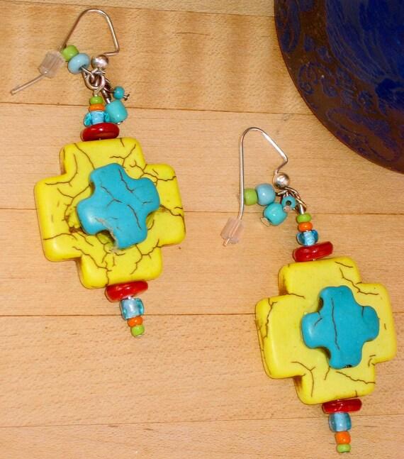 Double Cross - Western Cowgirl Southwestern Indian Yellow Aqua Turquoise Chunky Cross Red Blue Orange Green Beaded Long Dangle Earrings