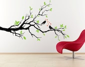 Vinyl Wall Art Birds on Tree Branch Vinyl Wall Decal   LARGE