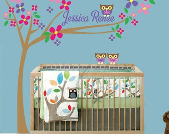 Tree Flowers Owl Wall Decal REUSABLE DECAL Childrens Monogram  - M805Swa