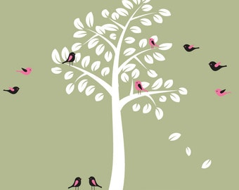 Childrens Tree Wall Decal - Reusable Removable  - T112SWA