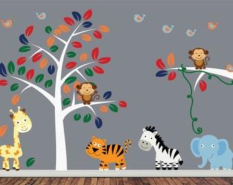 Jungle Tree Wall Decal - Nursery Wall Decal - J210SWA