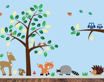 Childrens Forest Wall Decal - REUSABLE Wall Decal - J220SWA