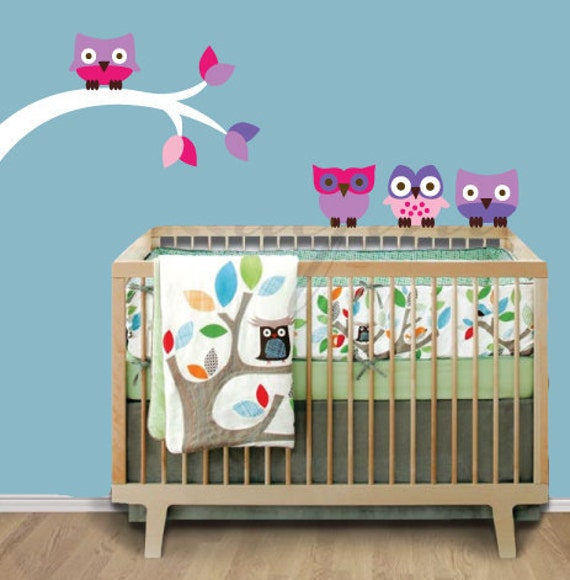Childrens Wall Decal - Owl Wall Decals -  Reusable Removable Wall Decal - O402SWA
