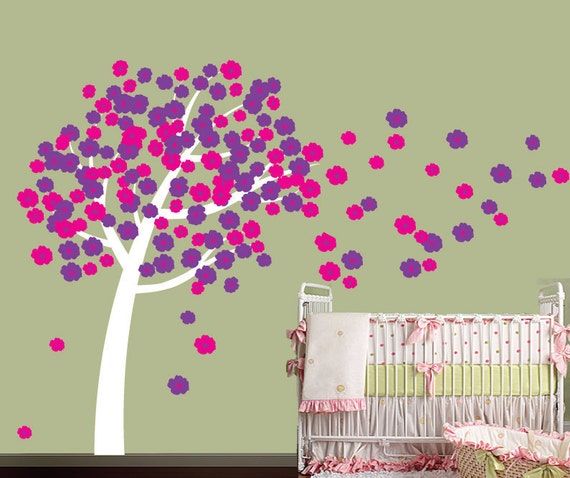 Cherry Blossom Tree Decal - Reusable Removable FABRIC Wall Decal  - T120SWA