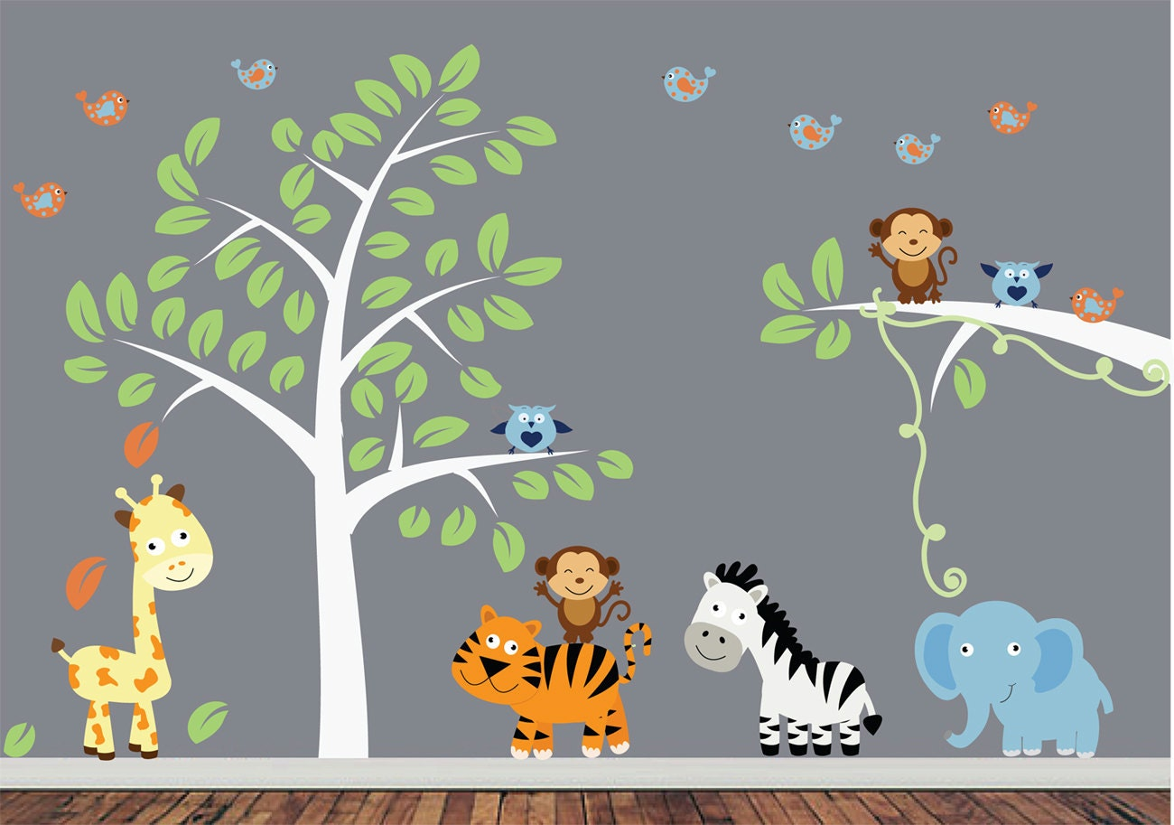 Childrens jungle wall decal reusable fabric wall decal for Baby jungle mural