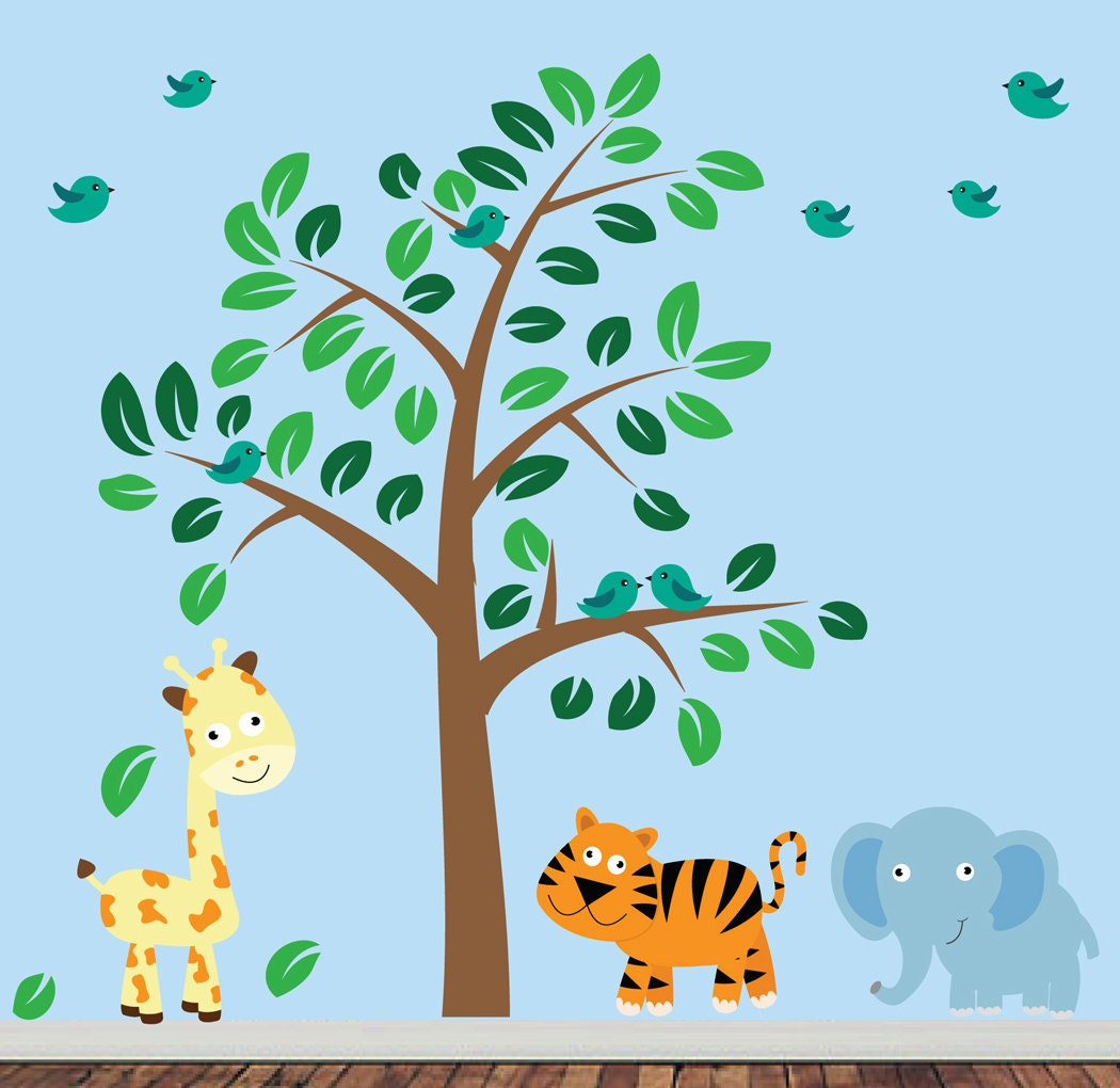 Childrens jungle wall decal reusable fabric wall decal for Childrens jungle print fabric