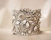Custom Bracelet for Jeannette, Bridal Bracelet, Wedding Jewelry, Bridal Cuff. Classic All Swarovski Crystal Old Hollywood Rhinestone Cuff