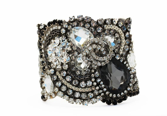 Free Shipping Stunning All Swarovski Black Crystal Cuff With  Clasp or Ribbon Tie