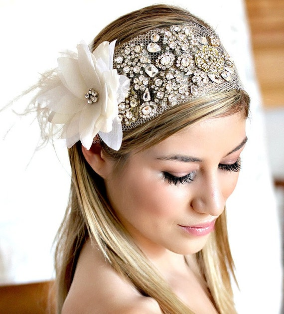 Stunning Silk Flower with White Ostrich and Rhinestone This Headpiece Ready to Ship - This piece can be Customize to your tastes