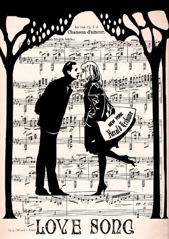 NEW YORK MELODY times square love song original , art poster, art print, wall decor Illustration mr 35
