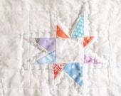 Baby Quilt - Aqua, Coral, Lavender Stars