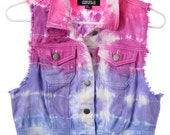 COLORFUL Denim Tie Dye Dyed DISTRESSED Cropped destroyed Vest Jacket XS S