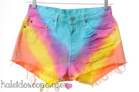 Vintage RAINBOW Dip Dye Ombre LEVIS High Waisted Cut Off Shorts XL