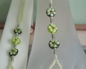 Barefoot Sandals Foot Jewelry Pearlized Light Yellow Flower Lampwork Beaded Swarovski Emerald Drop
