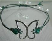Swarovski Emerald Forest Green Irish Linen Cord Sterling Silver Butterfly Adjustable Bracelet / Anklet May's Birthstone - Make A Wish