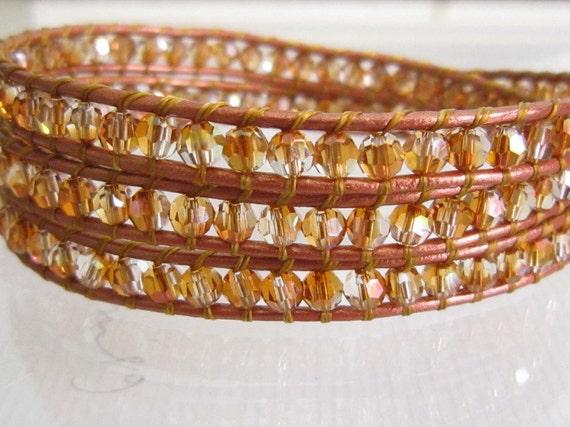 Copper Swarovski Leather Triple Wrap Bracelet