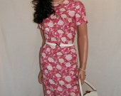 1950s 1960s pink cotton floral wiggle dress