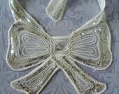 Nautical White Vintage Sequin Bow Applique Shabby Fabulous