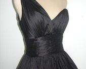 Black Silk Dupion one strap 50s style dress. All sizes welcome.