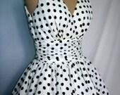 Polka dot cocktail dress with 50s inspired V neck design in cotton custom