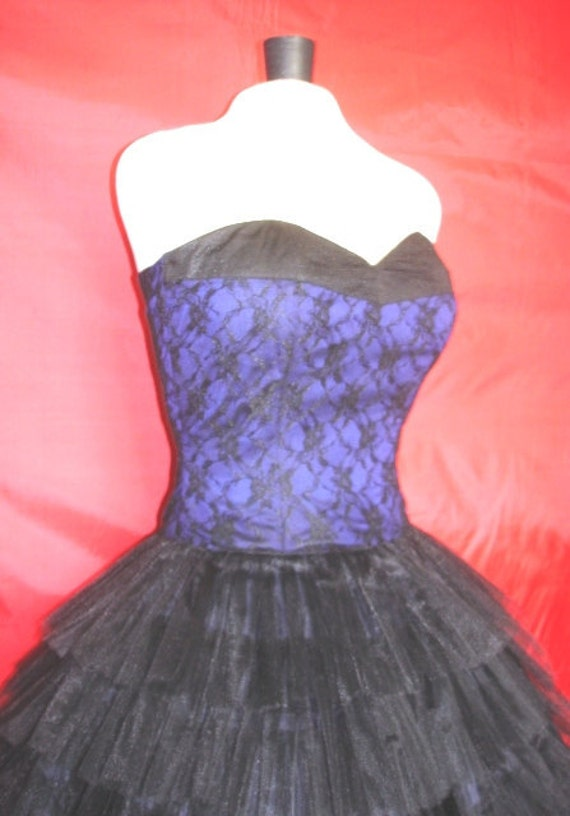 A 50s cocktail dress Lace Corseted bodice and very full tiered  tulle skirt, can be made custom
