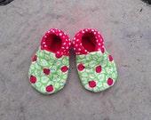 Ladybug/polka dot soft soled infant shoe