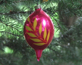 Collector Vintage Christmas Blown Glass Ornament Hand Painted FREE SHIPPIING - order 3 or more Christmas  listings