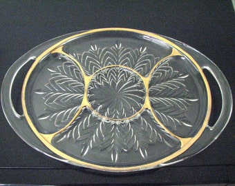 Divided Serving Plate Glass with Gold Trim and Two Handles