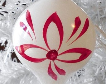 Vintage Christmas Ornament Hand Blown and Hand Painted Teardrop