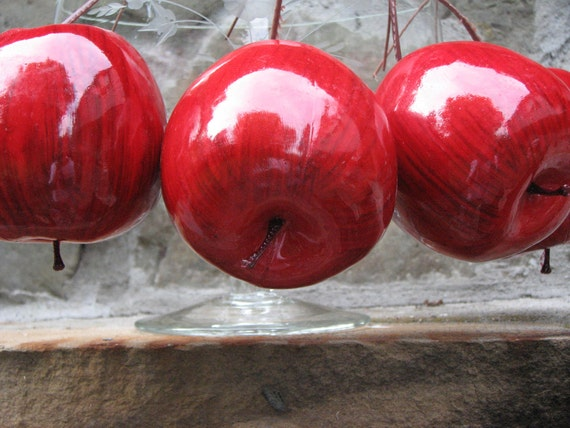 Vintage Christmas Ornaments Shiny and Bright  Red Apples