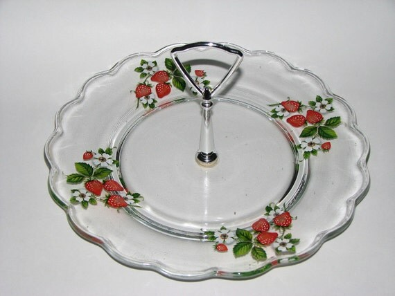 Vintage Glass Serving Dish Strawberry with Silver Center Handle
